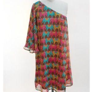 Judith March Sz L One Shoulder Elephants Dress